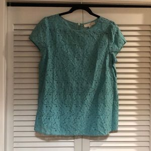 Loft teal green lace blouse